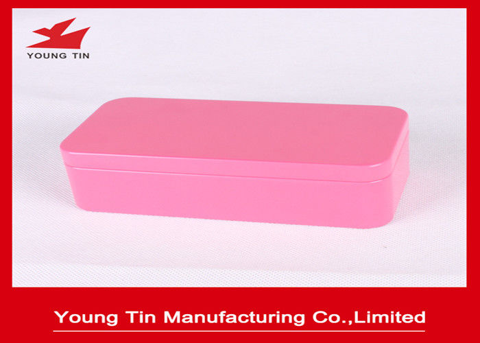Pink Plain Color Printed Empty Metal Cosmetic Packaging Tins 0.23 MM Tinplate Material