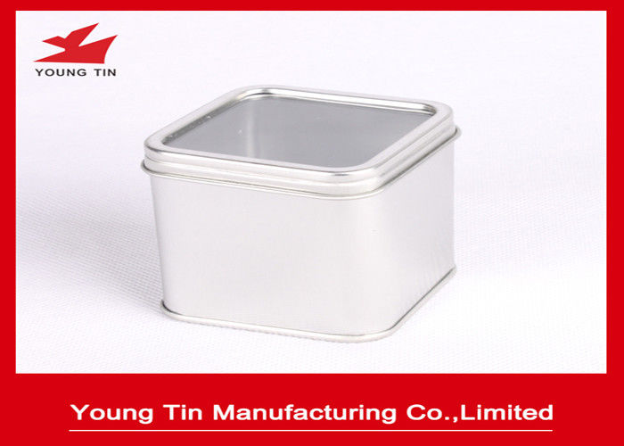 Empty Silver Square Metal Tins With 0.23 MM Tinplate Recyclable Clear PVC Window
