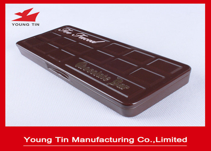 Empty Rectangle Chocolate Gift Tin Boxes Glossy Finish With Full Color Printing Outside