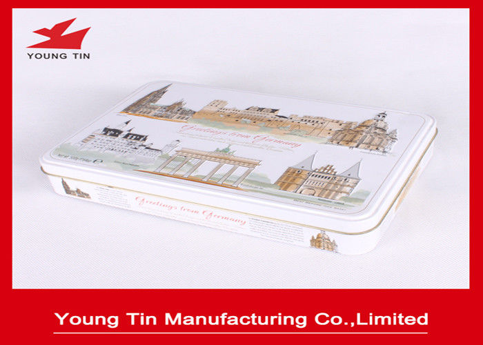 Full Color Printed Chocolate Tin Boxes Food Grade Metal Tinplate Material Glossy Finish